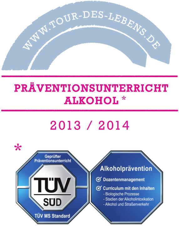 Präventionssiegel 2013/2014 zum Präventionsunterricht Alkohol